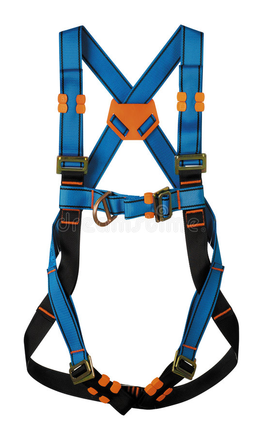 Harness. Blue harness and white background royalty free stock photography