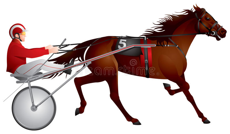 Harness racing, horse, race royalty free illustration