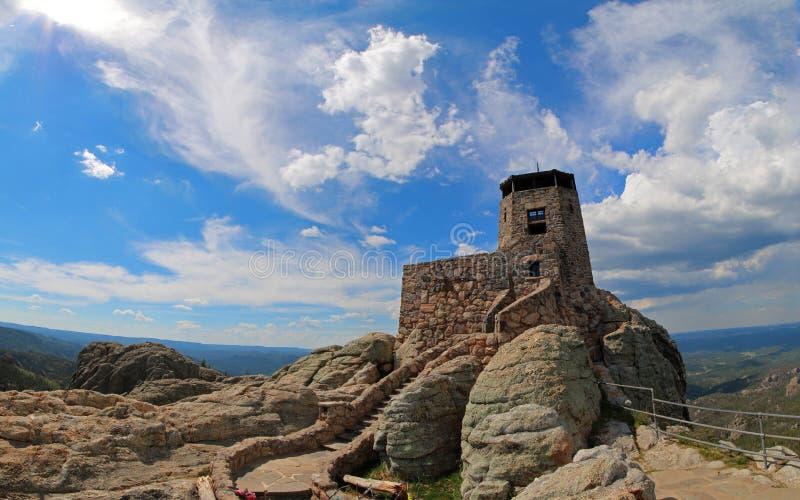 Harney峰顶火监视塔在Custer国家公园在南达科他美国黑山  图库摄影