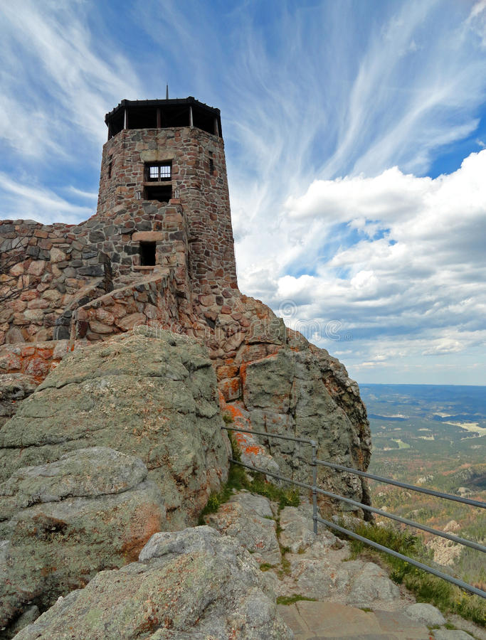 Harney szczytu ogienia punktu obserwacyjnego wierza w Custer stanu parku w Czarnych wzgórzach Południowy Dakota fotografia royalty free