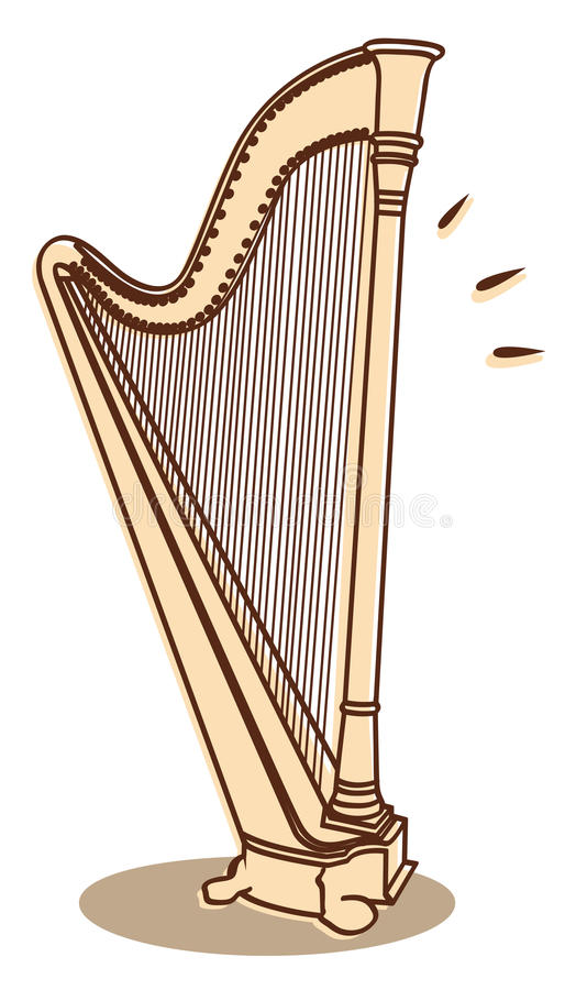 Harp vector. Illustration of a harp isolated on white background + vector eps file vector illustration