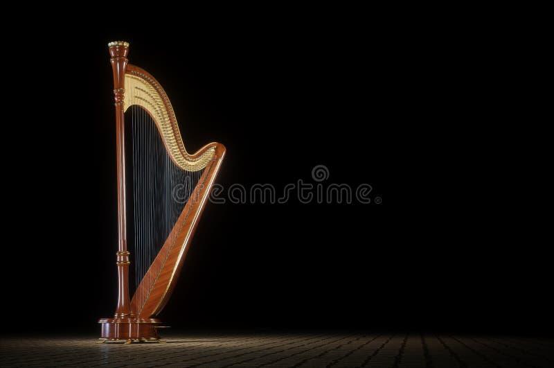 Harp bij het witte 3D teruggeven is verouderd die royalty-vrije stock afbeeldingen
