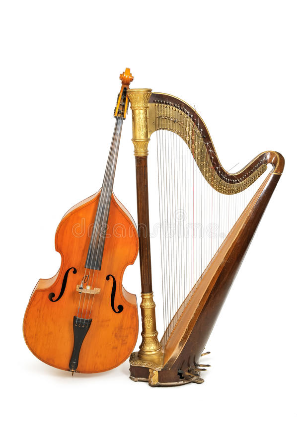 Harp and double bass. Concert harp and double bass royalty free stock image