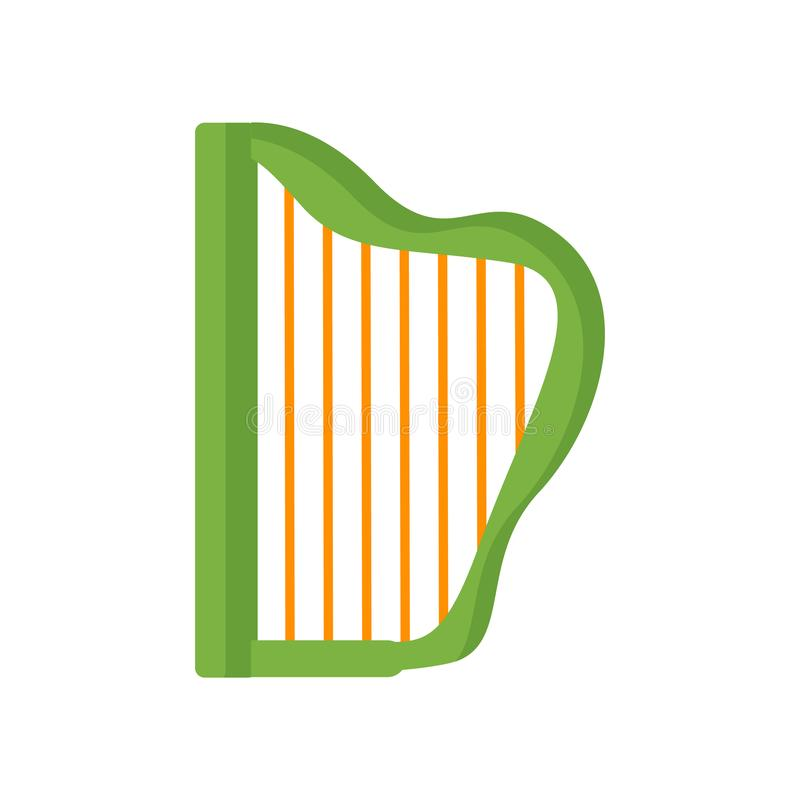 Harp icon vector sign and symbol isolated on white background, H vector illustration