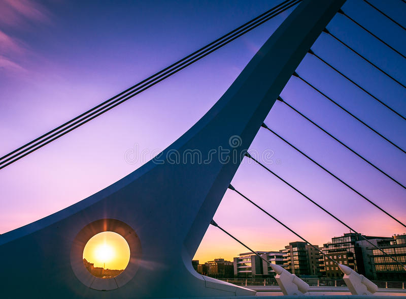 Dublin, Ireland. The harp shape Of The Samuel Beckett Bridge over Liffey river in Dublin, Ireland stock photos