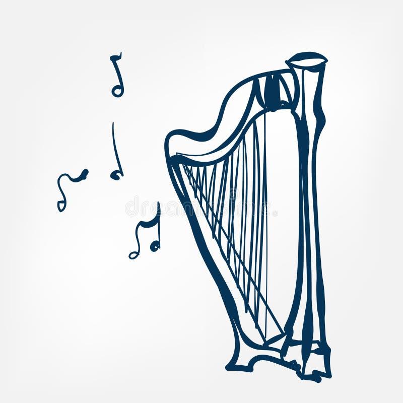 Harp sketch vector illustration isolated design element royalty free illustration