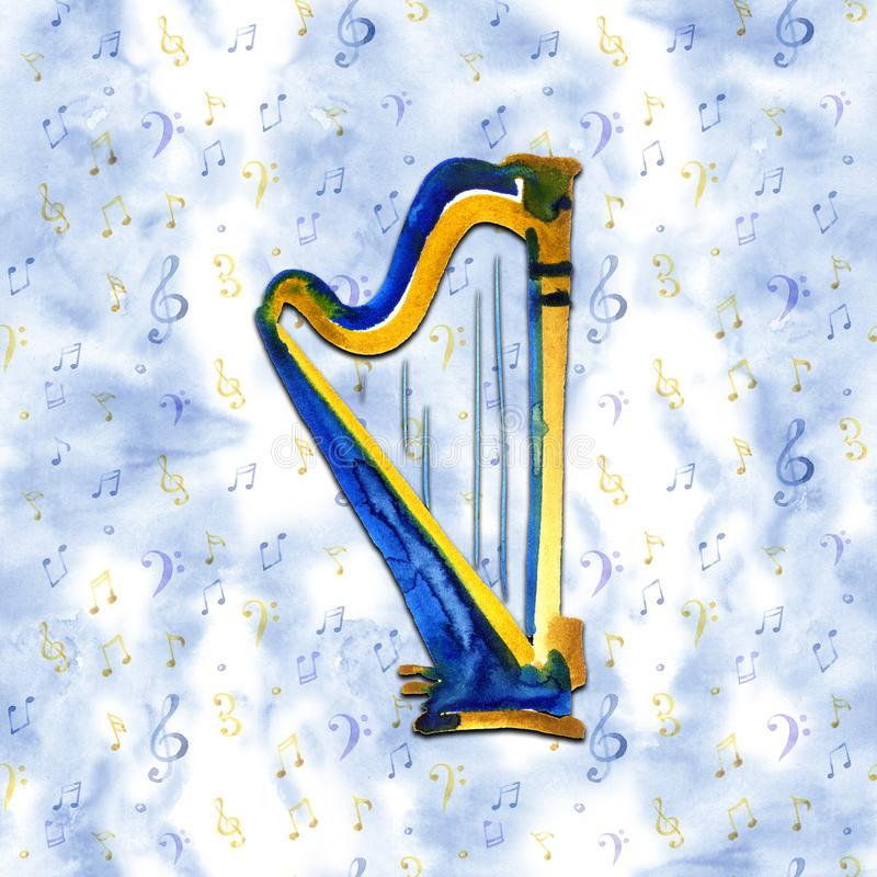 Harp. Watercolor illustration. Hand drawn of classical music instrument on a blue background royalty free illustration