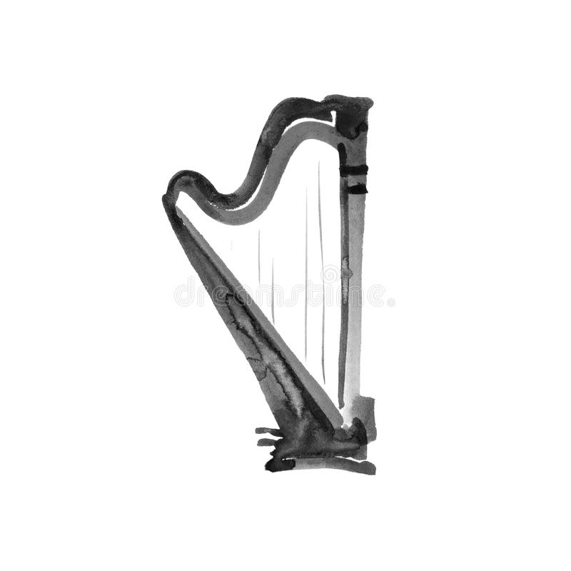 Harp. Watercolor illustration. Hand drawn of classical music instrument. Black on white background royalty free illustration