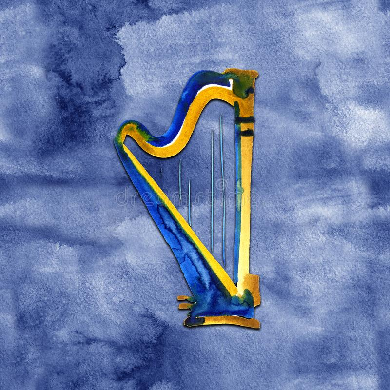 Harp. Watercolor illustration. Hand drawn of classical music instrument on blue background stock illustration
