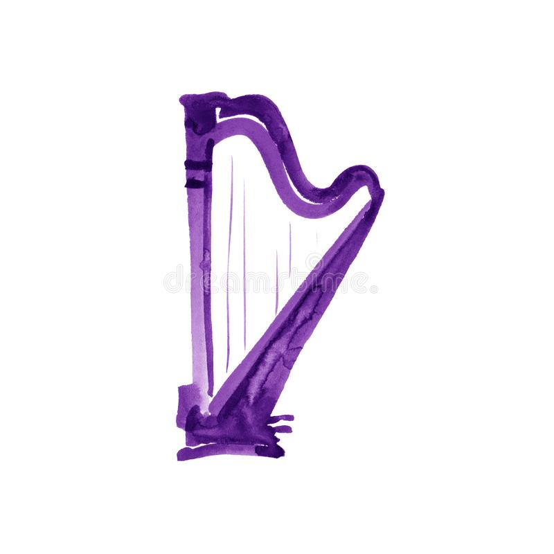 Harp. Watercolor illustration. Hand drawn of classical music instrument. violet royalty free illustration