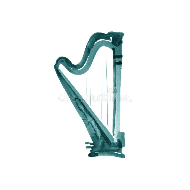 Turquoise harp. Watercolor illustration. Hand drawn of classical music instrument vector illustration