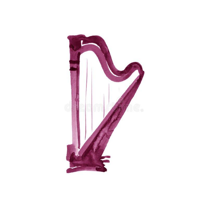 Harp. Watercolor illustration. Maroon, burgundy, claret, vinous, purple. Hand drawn of classical music instrument stock illustration