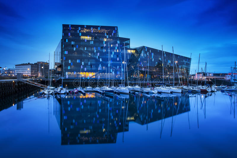 Harpa concert hall in Reykjavík, Iceland. This is a concert hall and conference centre, landmark of Reykjavik, capital city of Iceland stock photo
