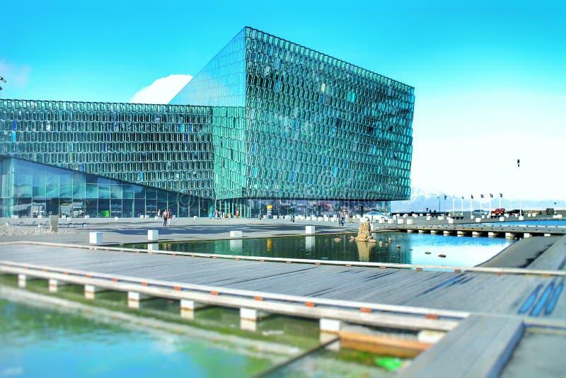 Harpa Concert Hall in Reykjavik, Iceland. Modern, architecture, building, geometric, shapes, squares, cubes, award, winning, landmard, landmark, scandinavian royalty free stock photos