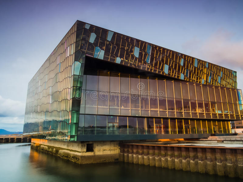 Harpa Concert Hall in Reykjavik at sunset royalty free stock photo