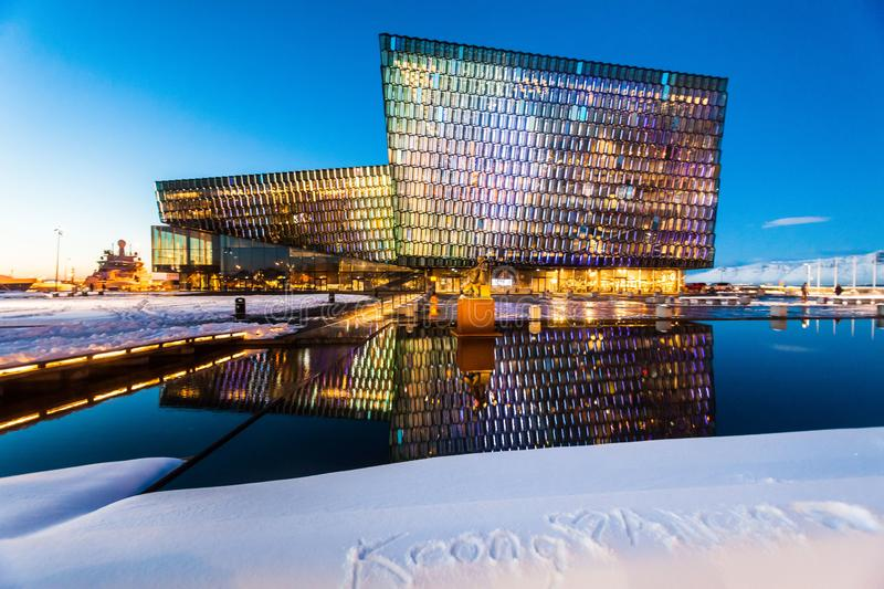 Harpa Concert Hall view during blue hour which is a concert hall and conference centre in Reykjavik, Iceland royalty free stock image