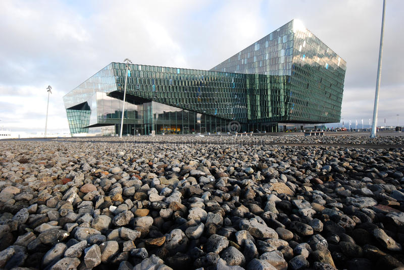 Harpa conference and concert hall, Reykjavik, Iceland. The Harpa building. The project, designed by Henning Larsen Architects, has won in 2013 the Mies Van der stock photography
