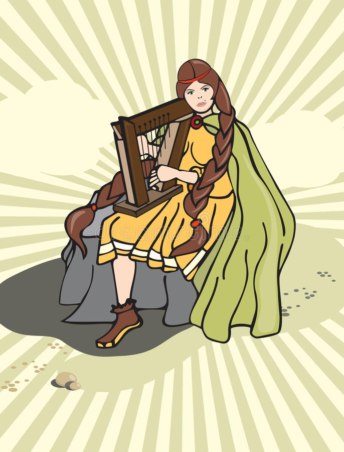 Harpa da menina ilustração royalty free