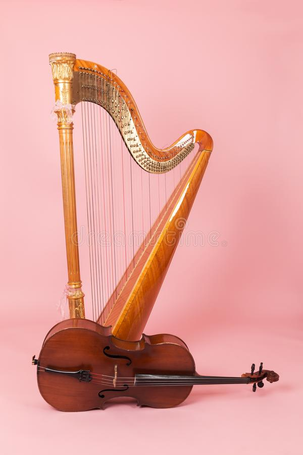 Harpa och violoncell arkivbild
