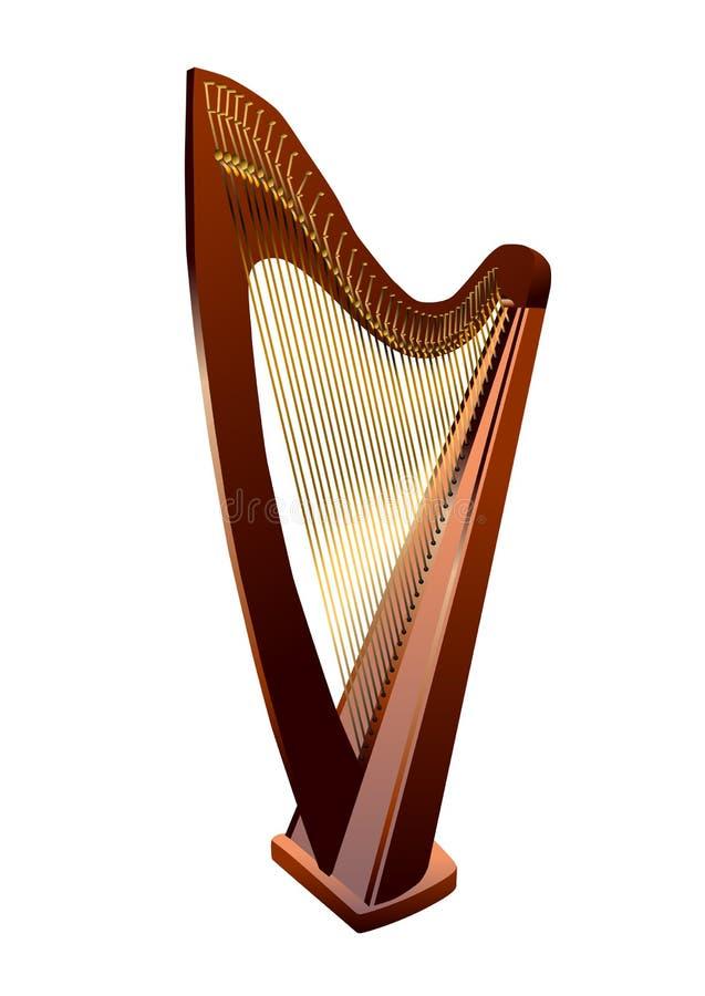 Harpa på vit stock illustrationer
