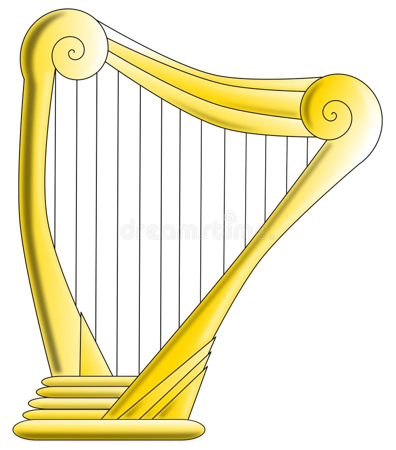 Harpe d'or illustration stock