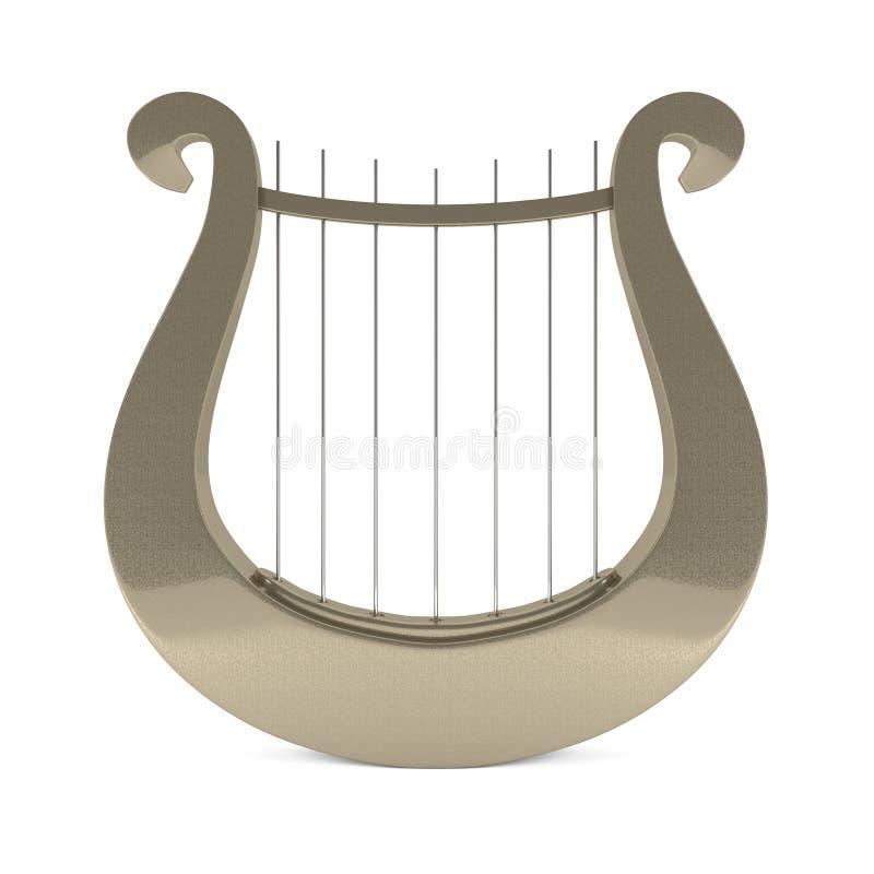 Harpe d'or grecque de lyre d'instrument de musique illustration de vecteur