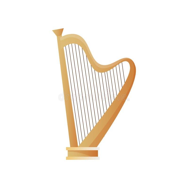 Harpe en bois de vieil instrument de musique antique avec des beaucoup des ficelles illustration de vecteur