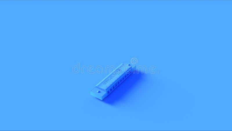 Harpe française bleue lumineuse d'organe de bouche d'harmonica illustration stock