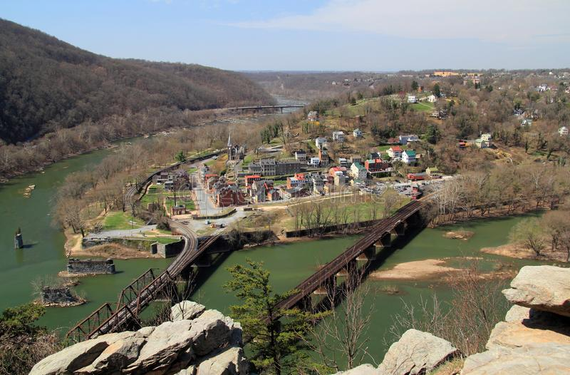 Harpers Ferry Landscape. Historic Harpers Ferry, at the confluence of the Shenandoah and Potomac Rivers in the state of West Virginia, is one of the most royalty free stock photo