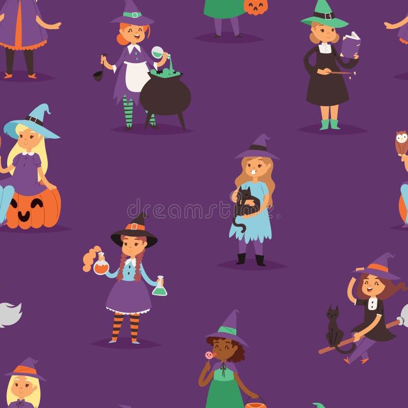 Harpie mignonne de petite fille de Halloween de sorcière de vecteur avec le balai avec caractère magique de robe de femme de sorc illustration de vecteur