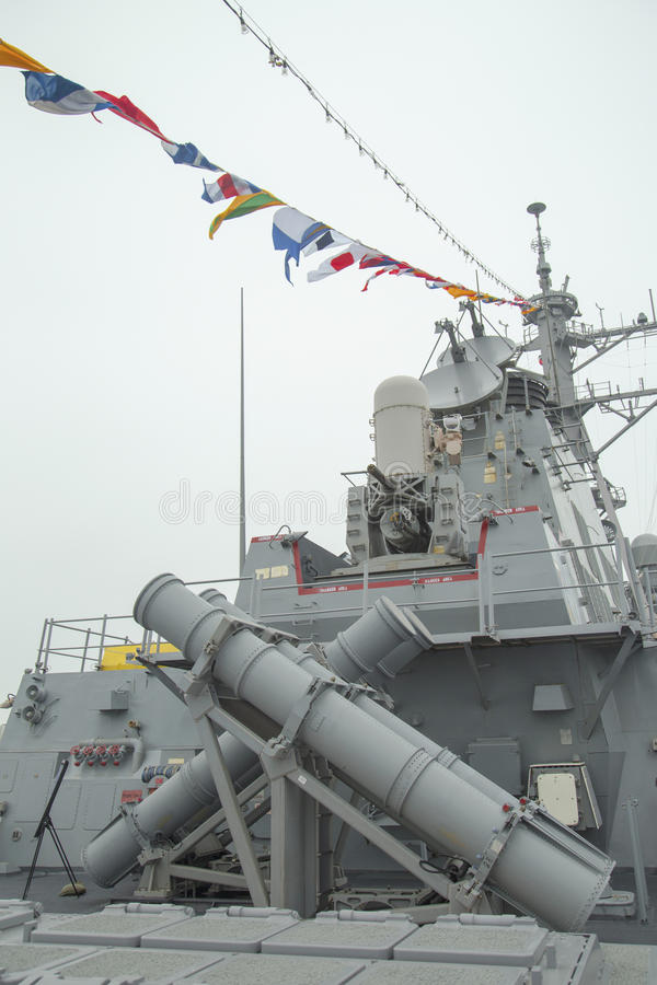 Harpoon cruise missile launchers on the deck of US guided missile destroyer USS Cole during Fleet Week 2014. NEW YORK - MAY 22 Harpoon cruise missile launchers royalty free stock images