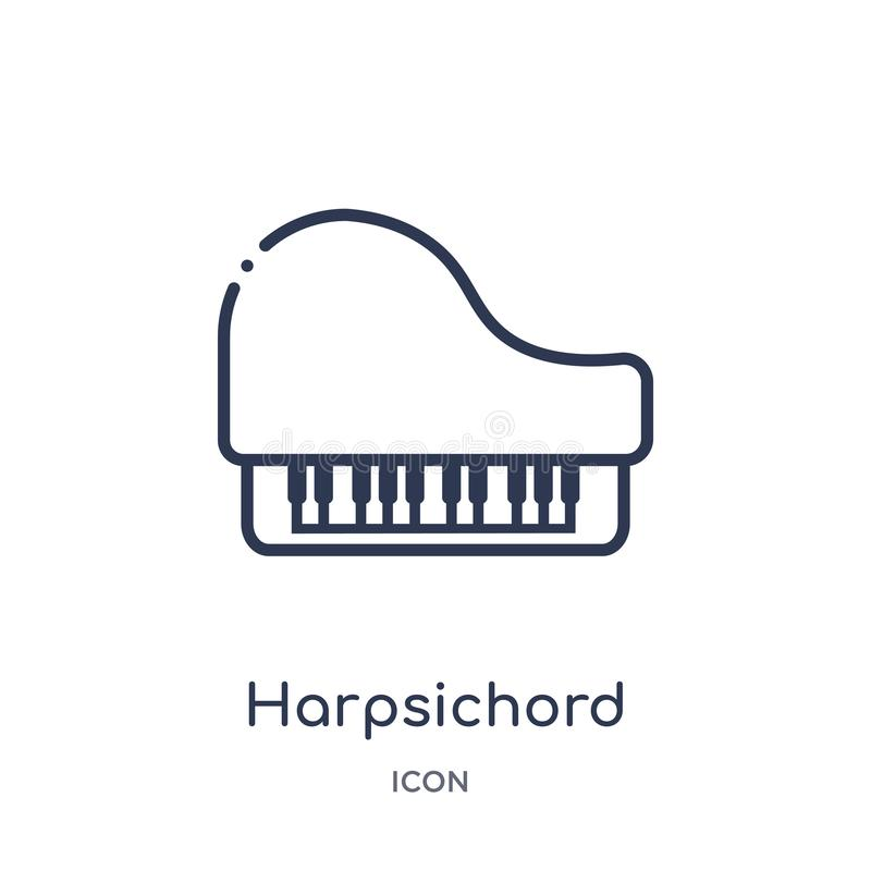 Harpsichord icon from music outline collection. Thin line harpsichord icon isolated on white background vector illustration