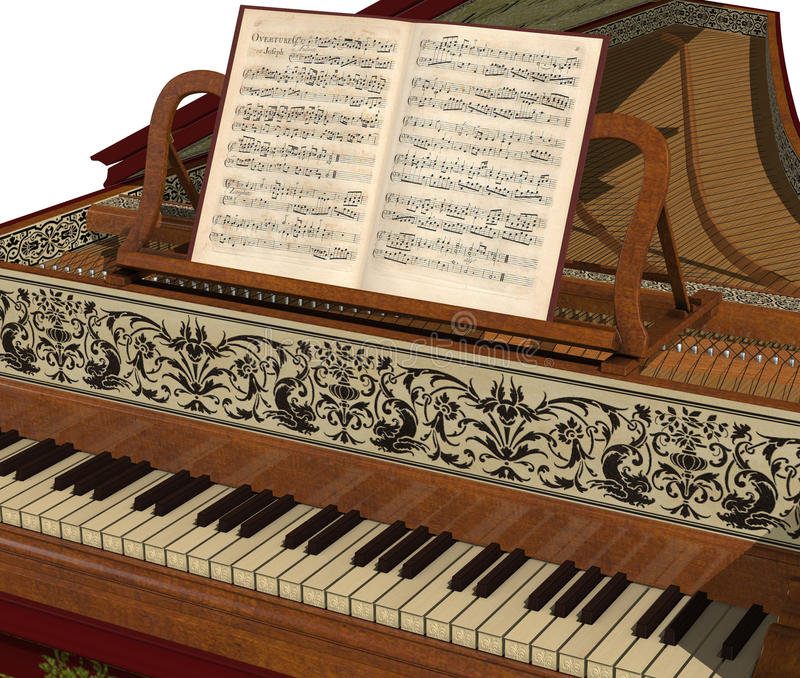Harpsichord Keyboard royalty free stock photo
