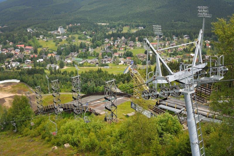 Harrachov在夏天有对跳高滑雪和驾空滑车的看法 库存图片