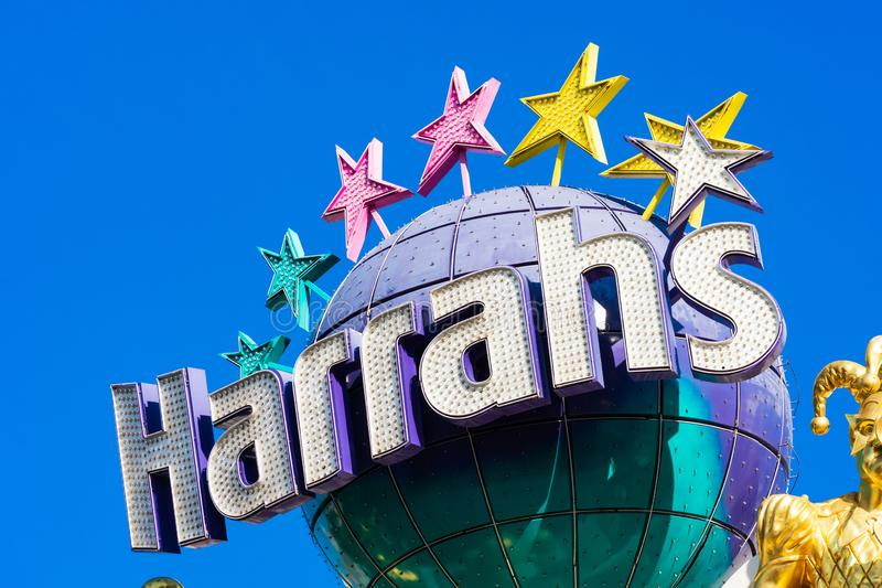 Harrah`s hotel and casino resort sign. As seen from Las Vegas Strip - Las Vegas, Nevada, USA - December, 2019 royalty free stock photography