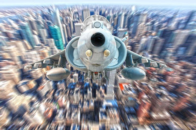 Harrier fighter jet. Flying over New York city royalty free stock photo