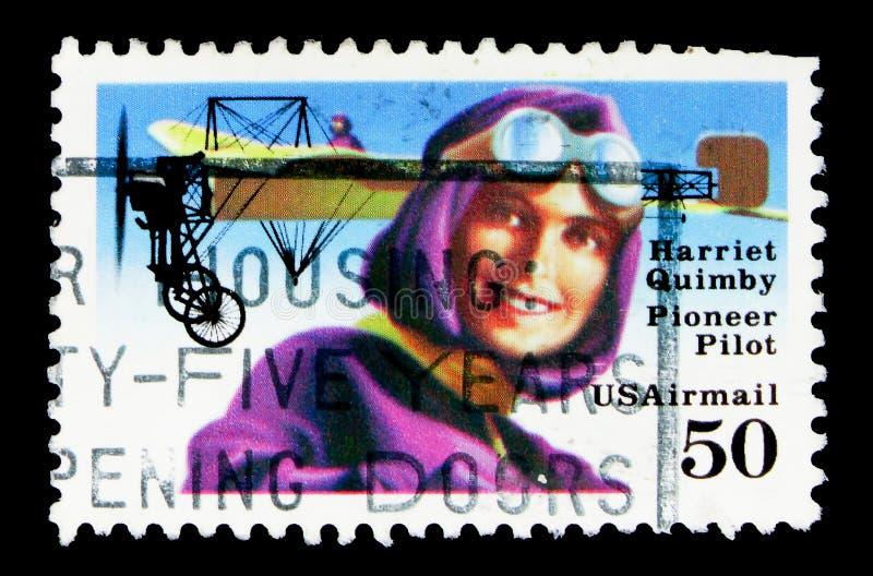 Harriet Quimby (1884-1912), 1er pilote américain avec Beiriot, Avi photographie stock libre de droits