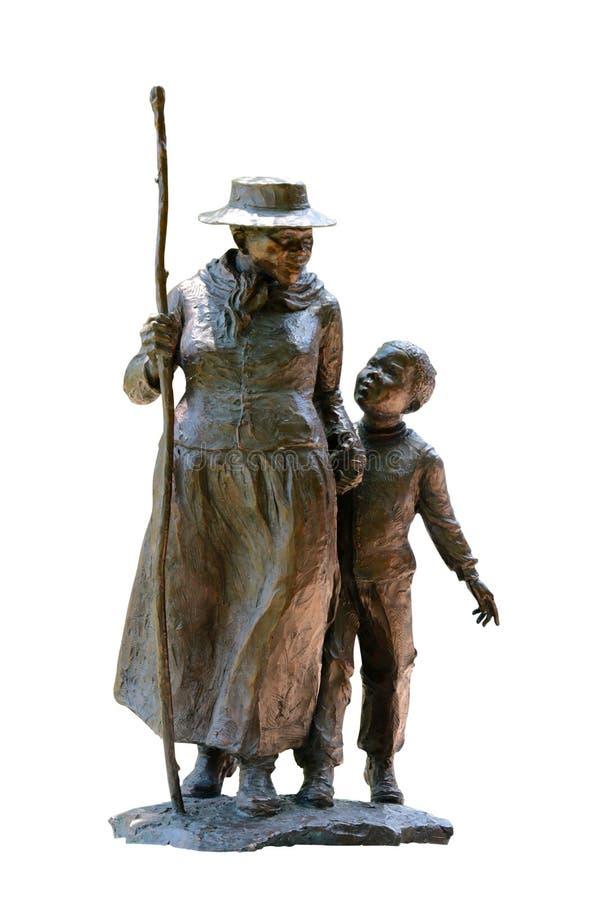 Harriet Tubman With un enfant en bas âge sur le fond blanc photos stock