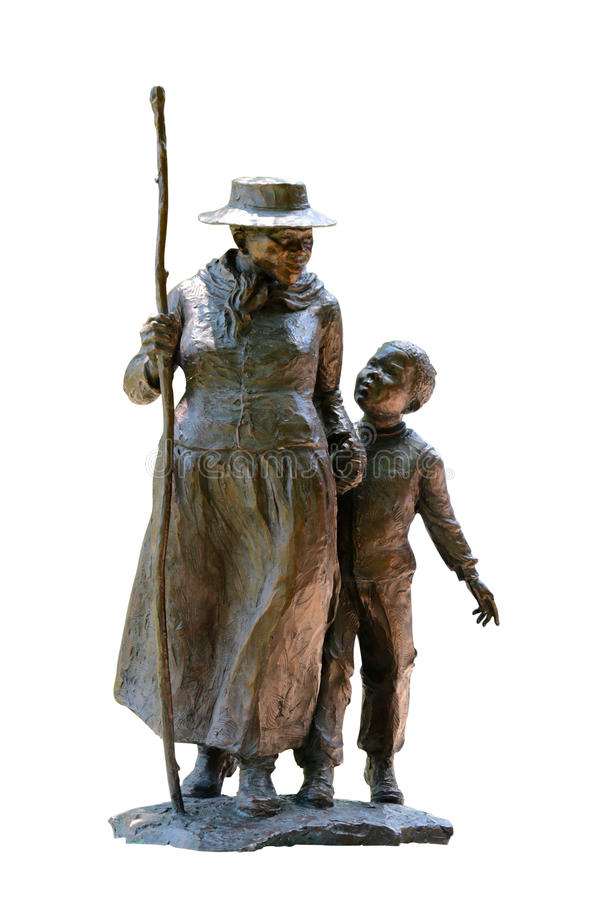 Harriet Tubman With A Young Child on White Background stock photos