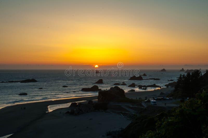 Harris Beach Sunset royaltyfria bilder