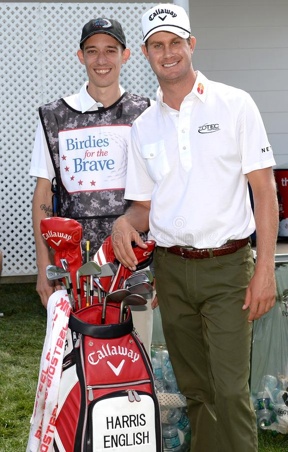 Harris English bij 2015 Barclays pro-Am hield in Plainfield Country Club in Edison, New Jersey stock foto
