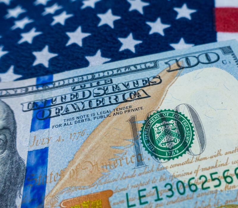 Harrisburg, PA - September 18 , 2019 :  United States of America $100 bill macro showing Department of the Treasury seal.  royalty free stock photography