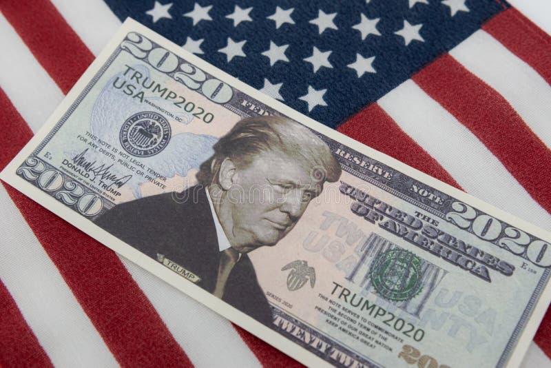 Harrisburg, PA - 26 września 2019 : Donald Trump 2020 Reelekcja Projekt ustawy o dolarach prezydenckich przeciwko USA fotografia stock