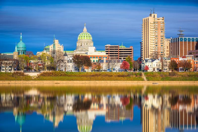 Harrisburg, Pennsylvania, USA downtown city skyline on the Susquehanna River. In the late afternoon royalty free stock photos