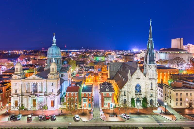 Harrisburg, Pensilvânia, EUA na noite fotografia de stock