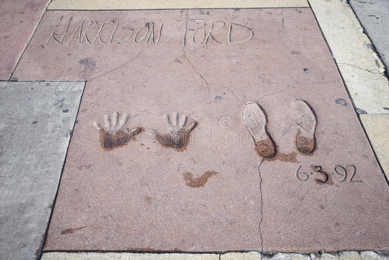 Harrison Ford-handprints-voetafdrukken in Hollywood stock foto