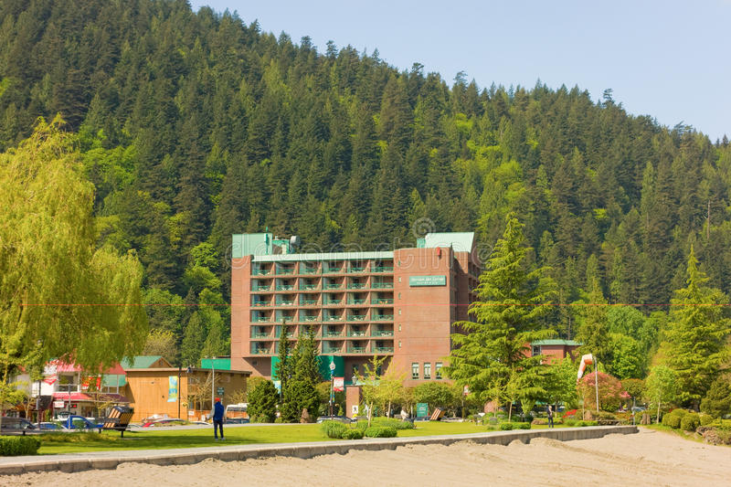 Harrison Hot Springs hotell, brisith columbia arkivfoto
