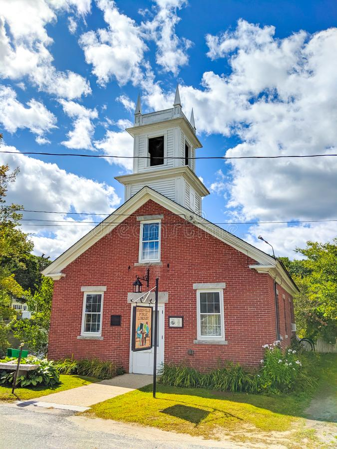 HARRISVILLE, NH - SEPTEMBER 17, 2019 - Harrisville Public Library in Harrisville NH, A Historic Mill Town, September 17, 2019 royalty free stock photos