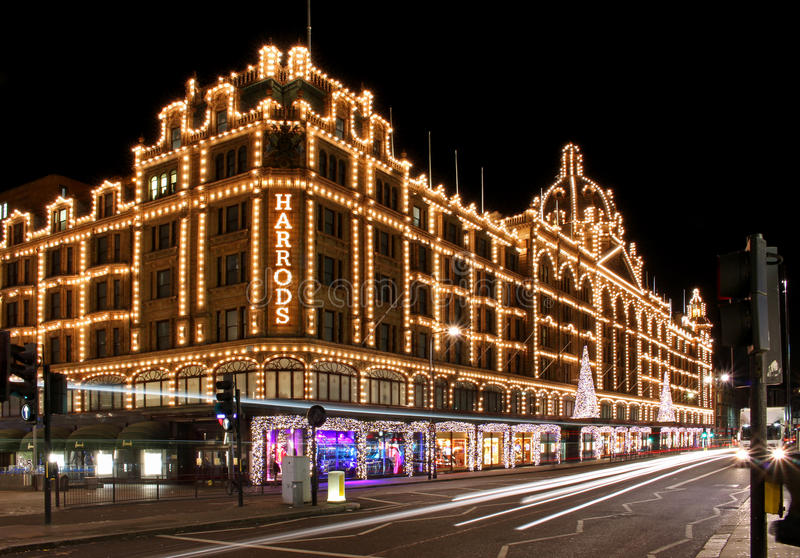 Download Harrods night editorial stock photo. Image of traffic - 38745188