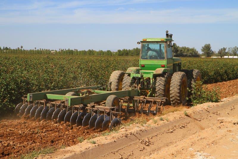 Arizona: Agriculture - Harrowing Cotton Fields stock image